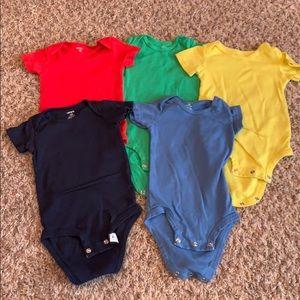 Lot of 5 Carter's Short Sleeve Onesies, 12 months